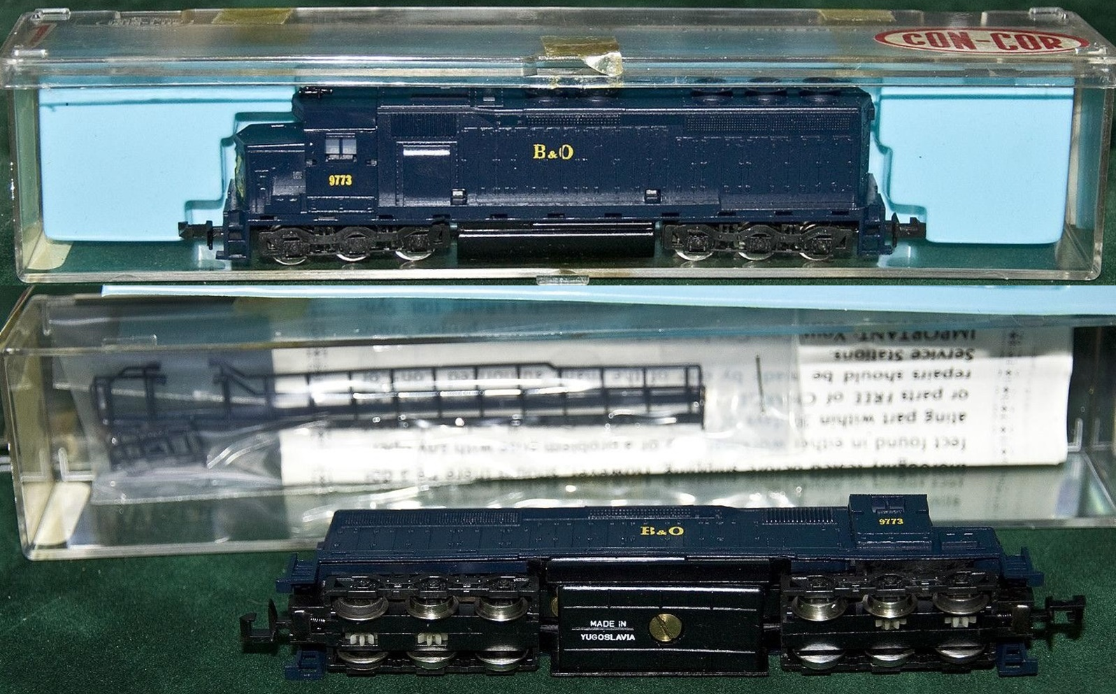 N Scale - Con-Cor - 2201-G - Locomotive, Diesel, EMD SD45 - Baltimore & Ohio - 9773