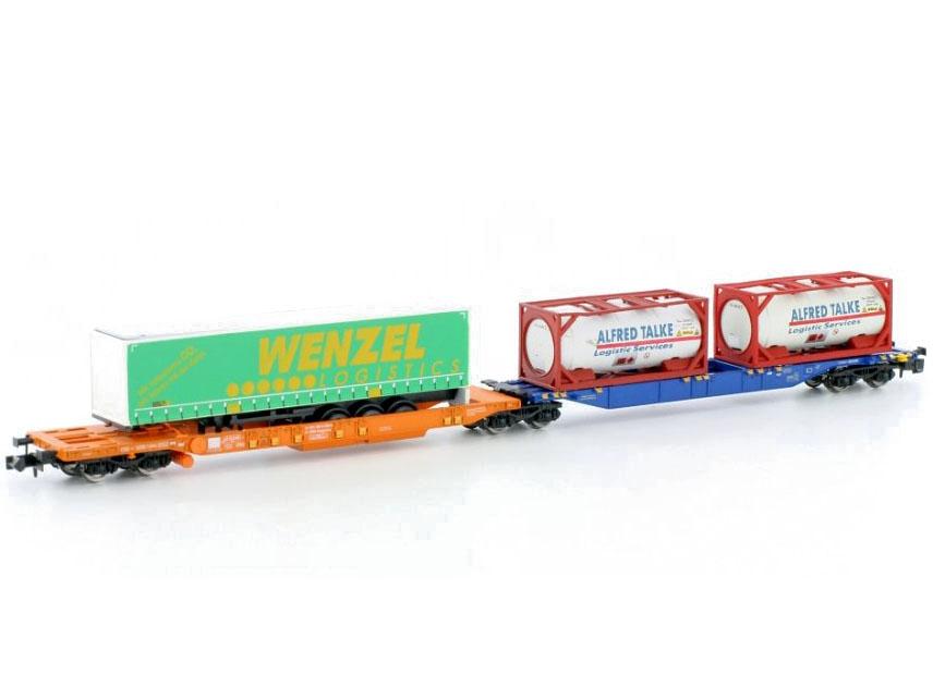 N Scale - Hobbytrain - H23753 - Flatcar, Sgkkms - ÖBB (Austrian Federal Railways) - 2-Pack