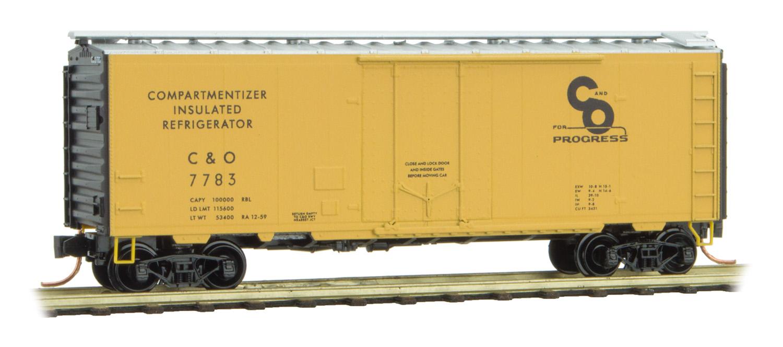 N Scale - Micro-Trains - 021 00 600 - Boxcar, 40 Foot, Steel Plug Door - Chesapeake & Ohio - 7783