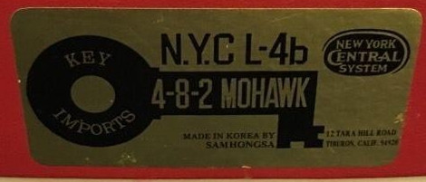 N Scale - Key - NYC L-4B - Locomotive, Steam, 4-8-2 L4 Mohawk - New York Central - 3135