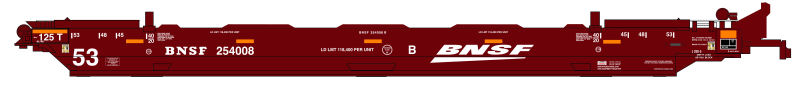 N Scale - Deluxe Innovations - 350901 - Container Car, Articulated Well, Gunderson Maxi-Stack IV - Burlington Northern Santa Fe - 254008