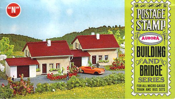 N Scale - Aurora Postage Stamp - 4122-125 - House - Residential Structures