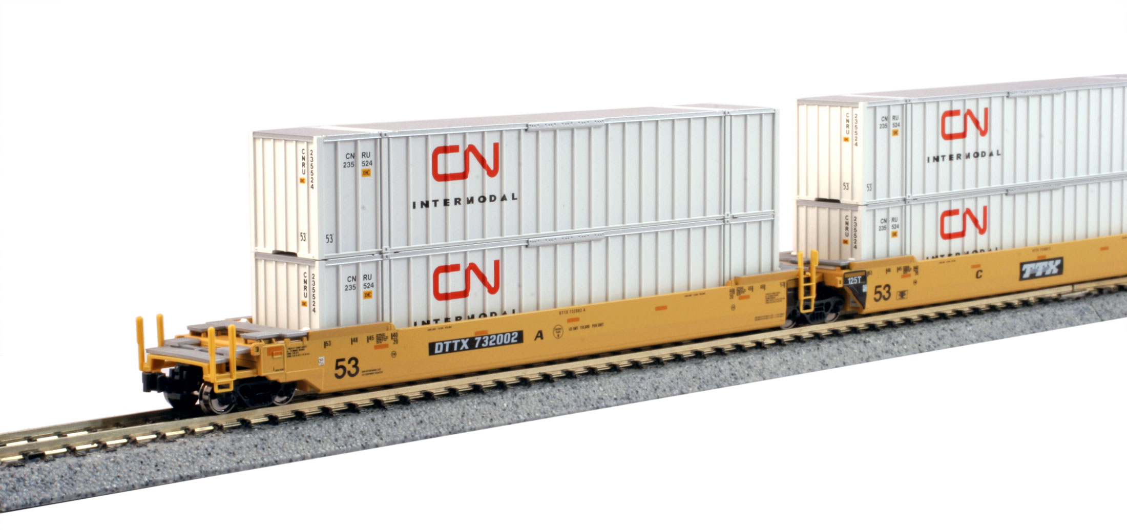 N Scale - Kato USA - 106-6173 - Container Car, Articulated Well, Gunderson Maxi-Stack IV - TTX Company - 732002