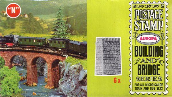 N Scale - Aurora Postage Stamp - 4187-080 - Bridge Piers  - Bridges and Piers