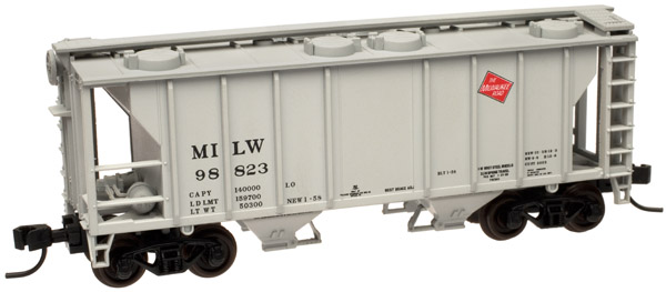 N Scale - Atlas - 50 000 887 - Covered Hopper, 2-Bay, PS2 - Milwaukee Road - 98823