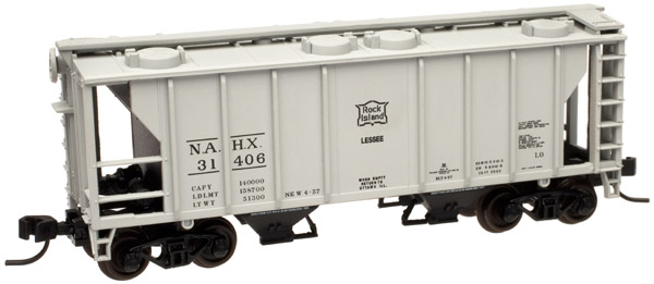 N Scale - Atlas - 50 000 894 - Covered Hopper, 2-Bay, PS2 - Rock Island - 31464