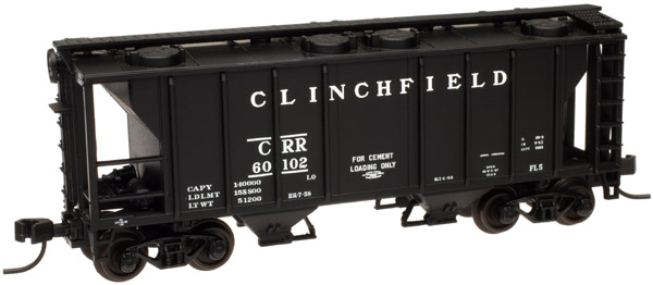 N Scale - Atlas - 50 000 898 - Covered Hopper, 2-Bay, PS2 - Clinchfield - 60119