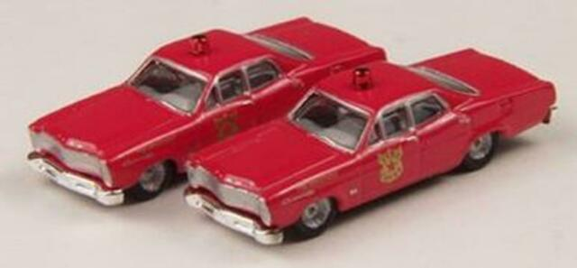 N Scale - Classic Metal Works - 50244 - Automobile, Ford, Custom - Fire and Rescue - 1967 Ford Custom 500, 4-door