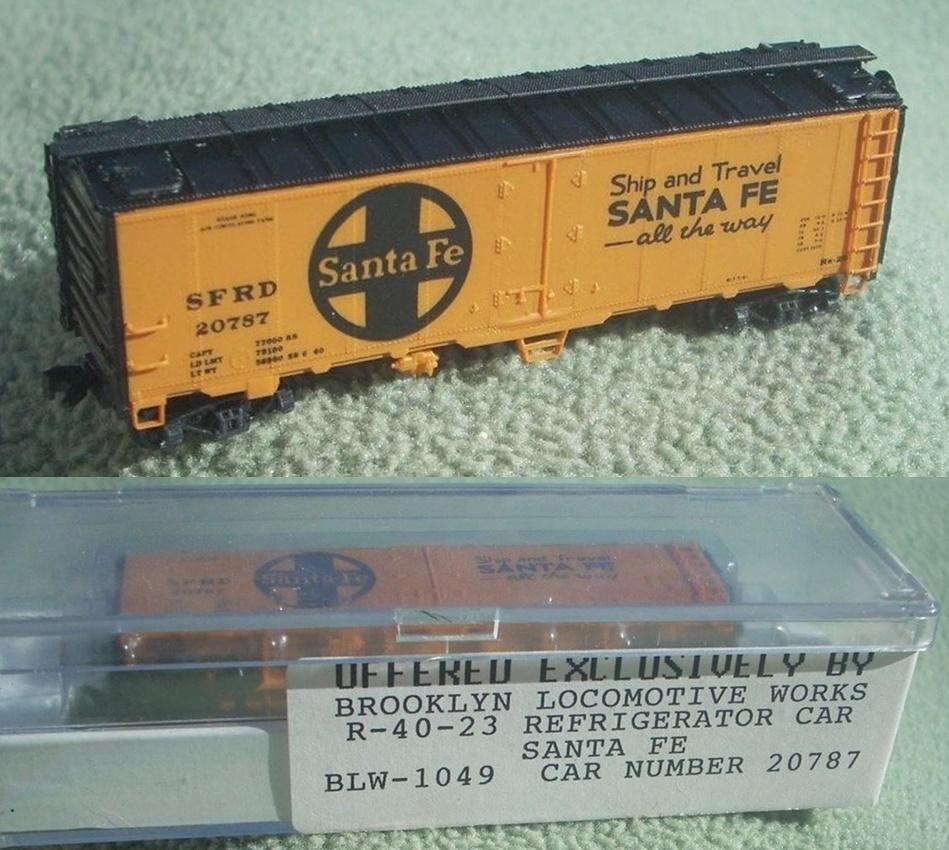 N Scale - Brooklyn Locomotive Works - BLW-1049 - Reefer, 40 Foot, R-40-23 - Santa Fe - 4-Pack