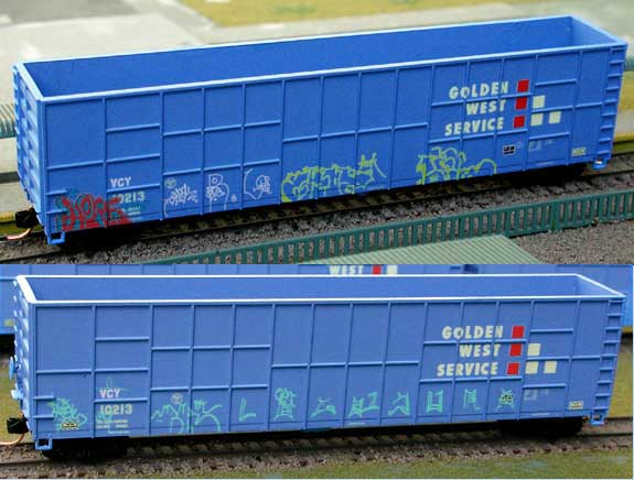N Scale - Deluxe Innovations - 160403 - Gondola, Woodchip - Golden West Service - 3 numbers