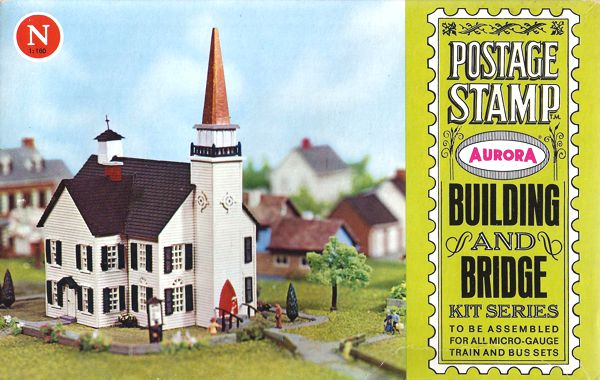 N Scale - Aurora Postage Stamp - 4156-250 - Church   - Residential Structures