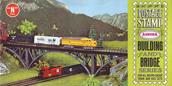 N Scale - Aurora Postage Stamp - 4181-200 - Bridge, Steel Arch  - Bridges and Piers