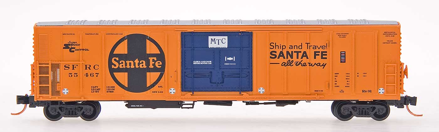 N Scale - InterMountain - 68824-12 - Reefer, 57 Foot, Mechanical, PC&F R-70-20 - Santa Fe - 55694