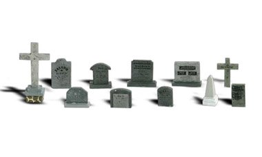 N Scale - Woodland Scenics - A2164 - Tombstones - Painted/Unlettered - Tombstones