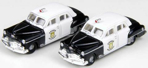 N Scale - Classic Metal Works - 50333 - Automobile, Plymouth, Deluxe - Police Dept - 1950 Plymouth Deluxe 4-door Sedan