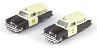N Scale - Classic Metal Works - 50346 - Automobile, Ford, Courier - Police Dept - 1953 Ford Courier Sedan Delivery
