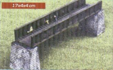 N Scale - Heljan - b662 - Steel Span Bridge with Piers - Railroad Structures - Steel Span Bridge