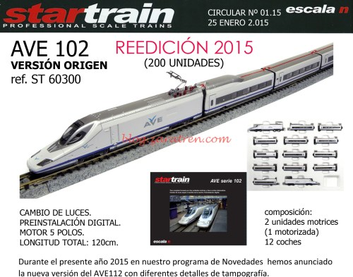 N Scale - Startrain - 60300 - Passenger Train, Electric, AVE Serie 102 - Renfe - 102 00x
