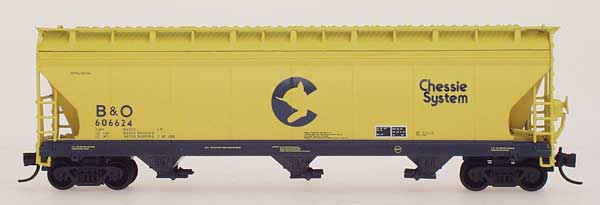 N Scale - InterMountain - 67038-08 - Covered Hopper, 3-Bay, ACF 4650 - Chessie System - 606397