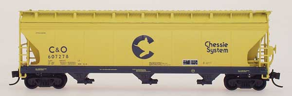 N Scale - InterMountain - 67039-11 - Covered Hopper, 3-Bay, ACF 4650 - Chessie System - 607278