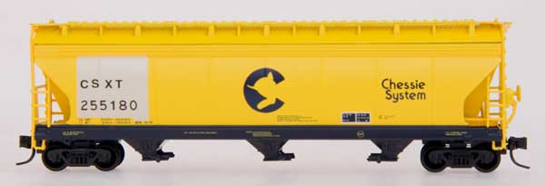 N Scale - InterMountain - 67040-18 - Covered Hopper, 3-Bay, ACF 4650 - Chessie System - 255180