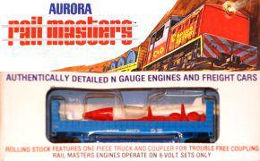 N Scale - Aurora Rail Masters - 5477 - Flatcar, Bulkhead - Santa Fe