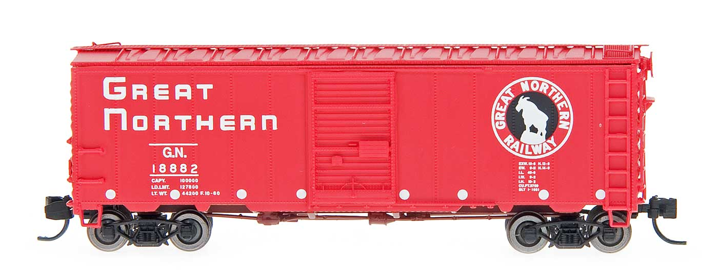 N Scale - InterMountain - 66005-34 - Boxcar, 40 Foot, Steel 12 Panel - Great Northern - 19017
