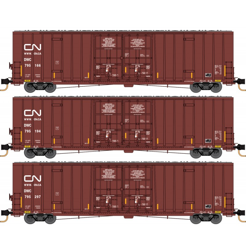 N Scale - Micro-Trains - 993 01 870 - Boxcar, 60 Foot, NSC Excess Height - Canadian National - 3-Pack