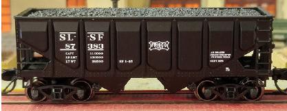 N Scale - Bluford Shops - 62113 - Open Hopper, 2-Bay, USRA 55 Ton Panel Side - Frisco - 3-Pack