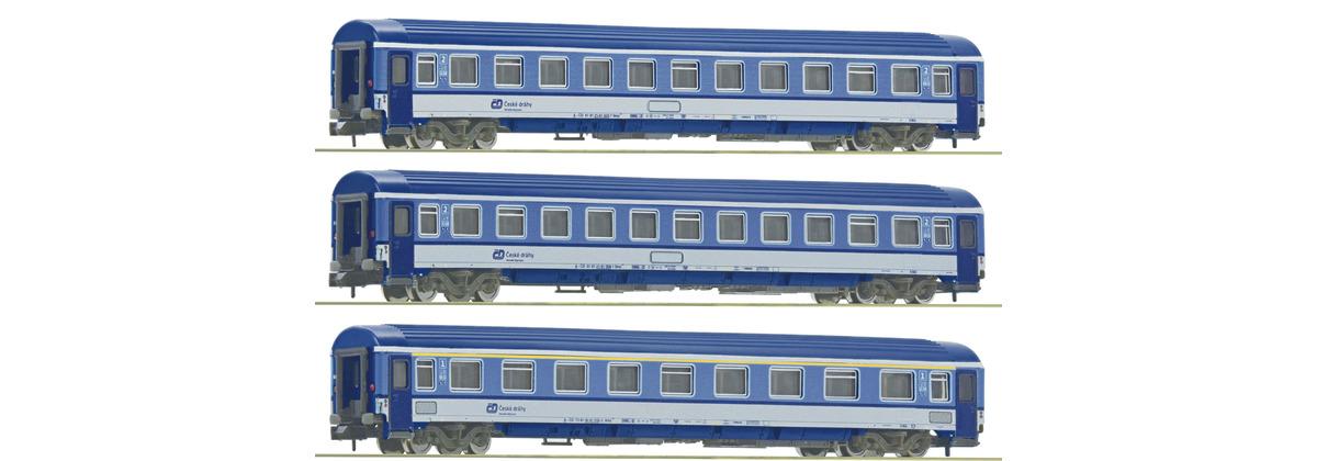 N Scale - Fleischmann - 881807 - Passenger Car, UIC, Type Z - ČD (Czech Railways) - 3 Car Set #2