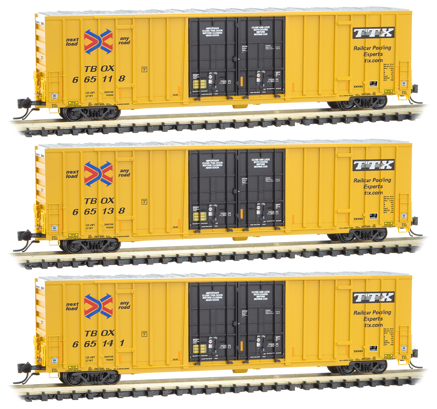 N Scale - Micro-Trains - 993 01 840 - Boxcar, 60 Foot, NSC Excess Height - RailBox - 3-Pack