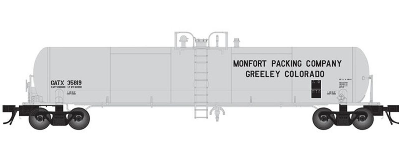 N Scale - Atlas - 50 004 627 - Tank Car, 20.7K, General Service - Monfort Packaging - 35816