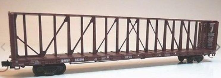N Scale - Red Caboose - RN-16515-6 - Flatcar, 73 Foot, Centerbeam - Burlington Northern Santa Fe - 559531