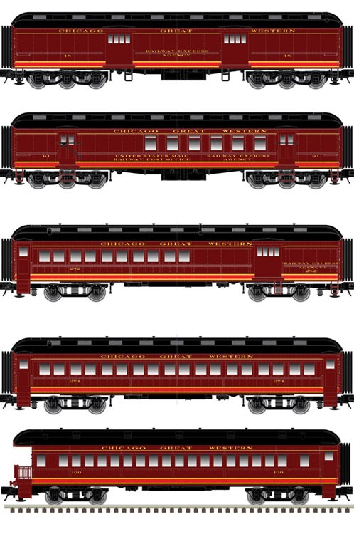 N Scale - Atlas - 50 005 126 - Passenger Car, Heavyweight, ACF Coach - Chicago Great Western - 5-Pack