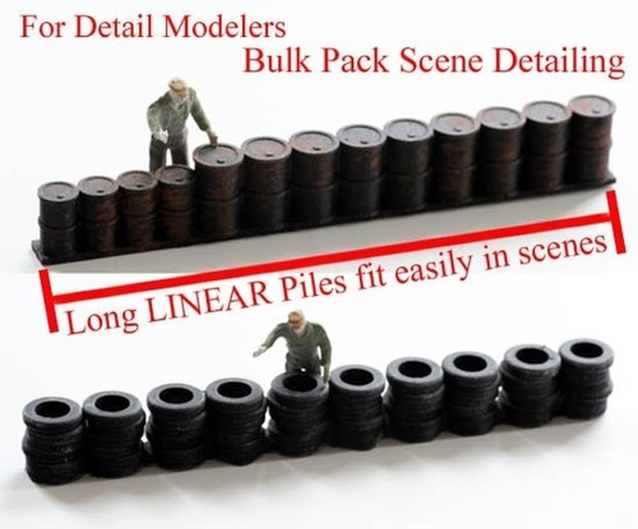 N Scale - Model Tech Studios - D1154P - Linear oil drums and tires - Painted/Unlettered