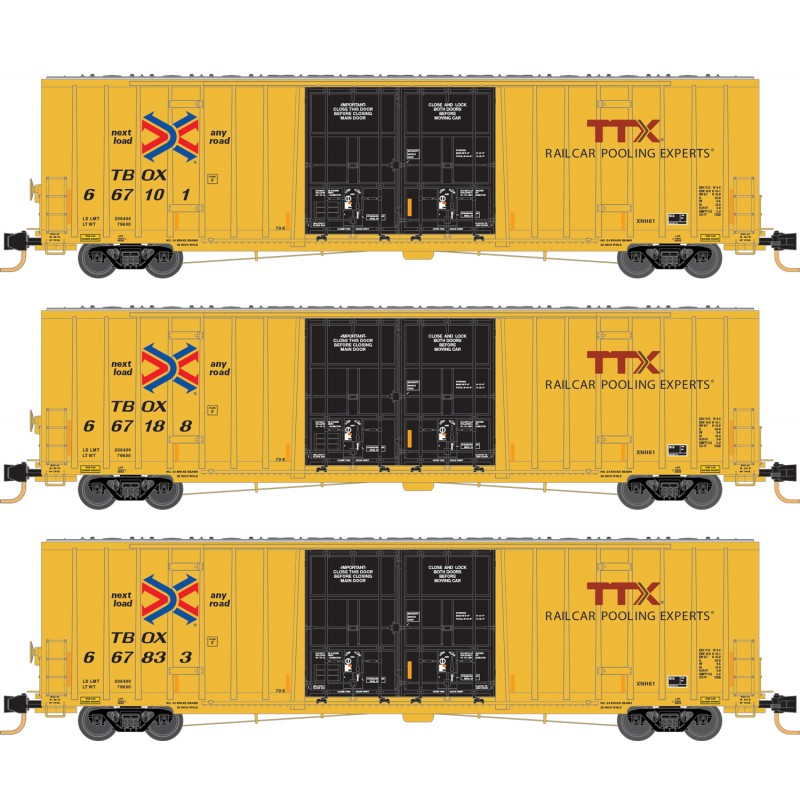 N Scale - Micro-Trains - 993 01 850 - Boxcar, 60 Foot, NSC Excess Height - TTX Trailer Train - 3-Pack