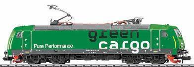 N Scale - Minitrix - 12385 - Locomotive, Electric, Bombardier TRAXX - Green Cargo - 185 545-1
