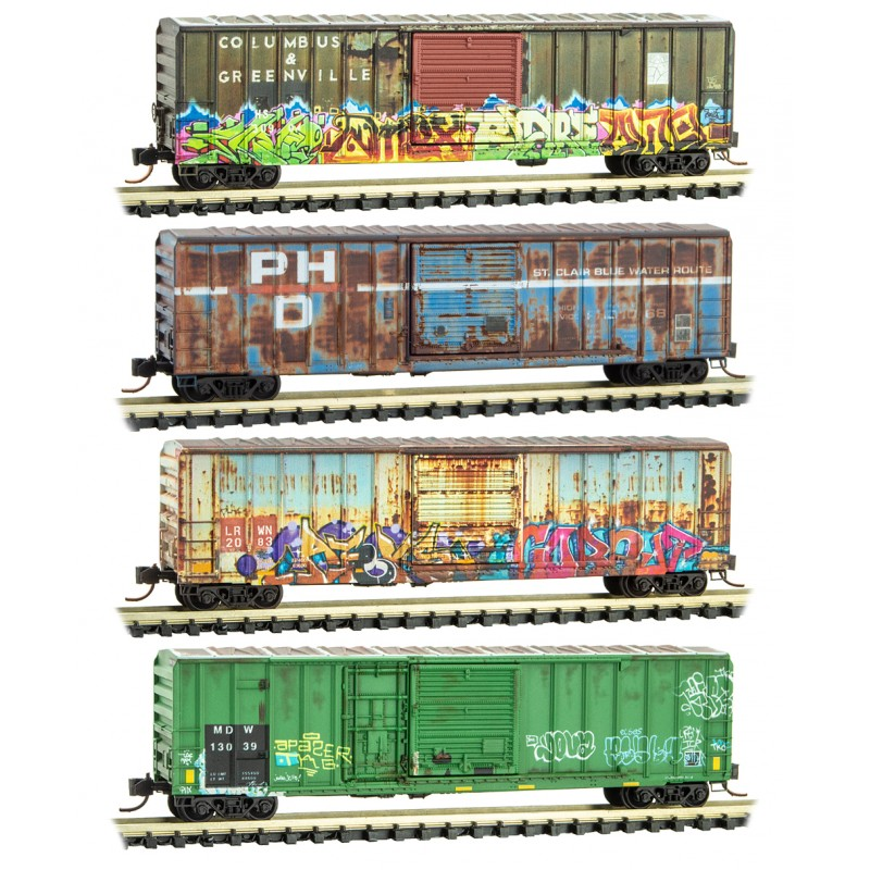 N Scale - Micro-Trains - 993 05 530 - Boxcar, 50 Foot, FMC, 5077 - Various - 4-Pack