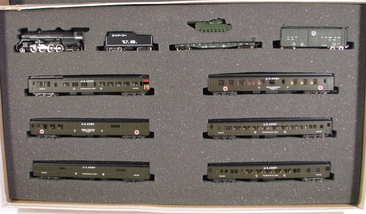 N Scale - Con-Cor - Limited Edition Set # 5 - Passenger Train, Steam, North American, Transition - United States Army - 10-Unit