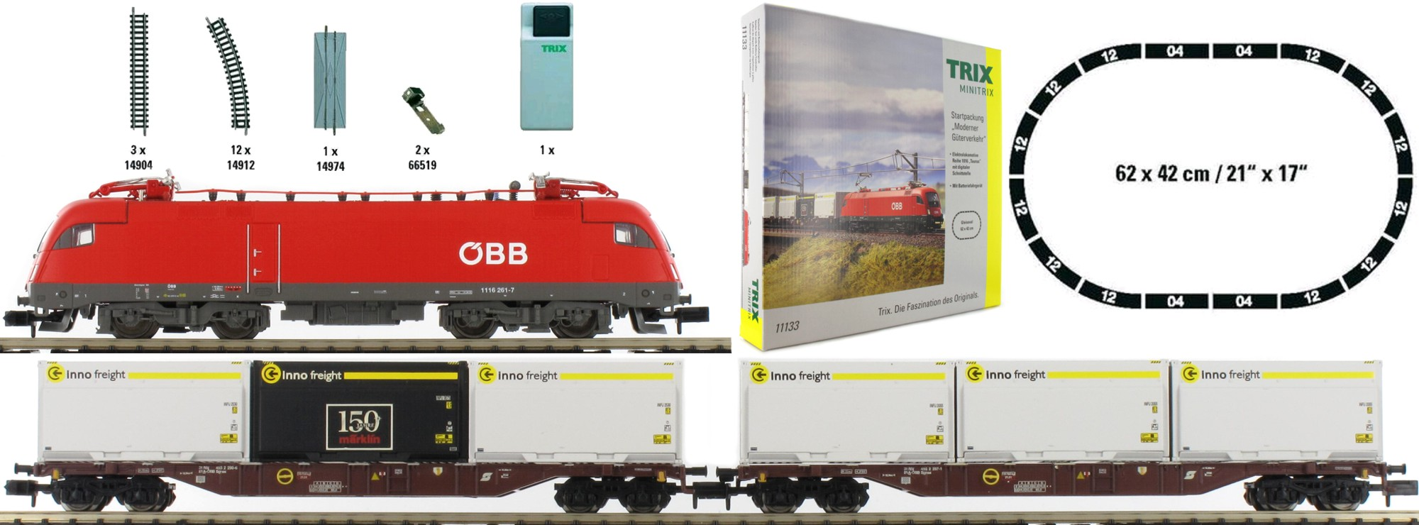 N Scale - Minitrix - 11133 - Mixed Freight Consist, Europe Epoch VI - ÖBB (Austrian Federal Railways) - 3-Unit Starter Set