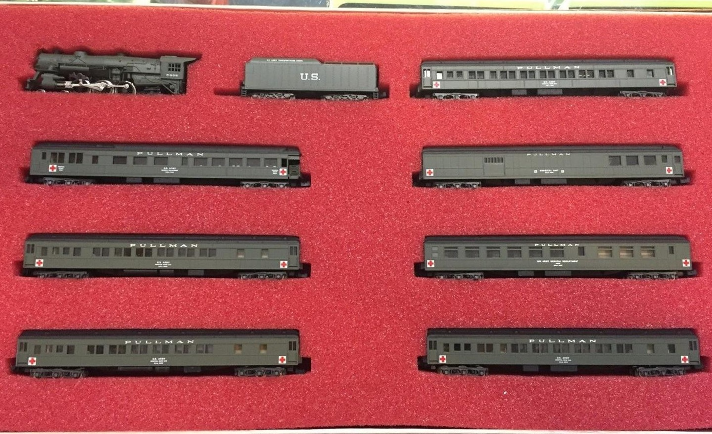 N Scale - Con-Cor - Limited Edition Set #23 / 8504 - Passenger Train, Steam, North American, Transition - United States Army Medical Department - 8-Unit