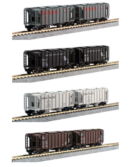 N Scale - Kato USA - 106-4700 - Covered Hopper, 2-Bay, ACF 36 Foot - Various - 8-Pack