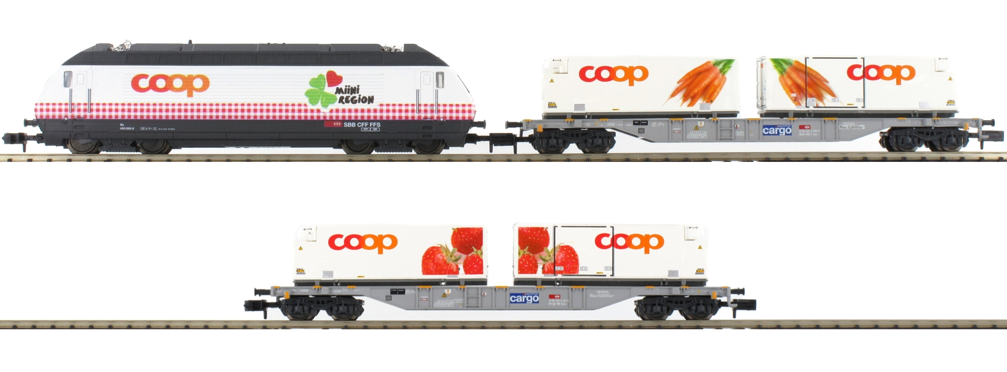 N Scale - Minitrix - 11638 - Freight Train, European, Electric, Epoch VI - SBB CFF FFS - 3-Pack