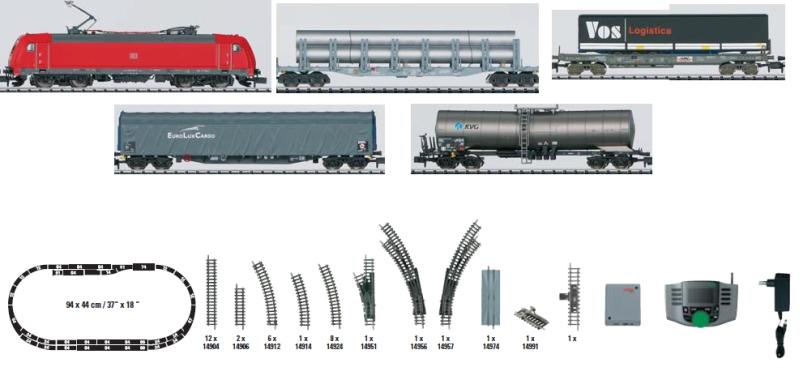 N Scale - Minitrix - 11138 - Freight Train, European, Electric, Epoch V - Deutsche Bahn - 5-Unit Starter Set