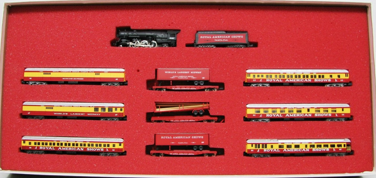 N Scale - Con-Cor - Limited Edition Set #30 / 8513 - Passenger Train, Steam, North American, Transition - Royal American Shows - 10-Unit
