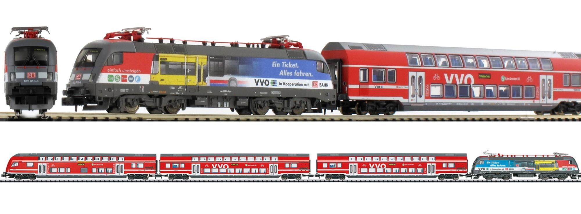 N Scale - Minitrix - 11630 - Passenger Train, Electric, Europe, Epoch VI - VVO (Dresden S-Bahn) - 4-Pack