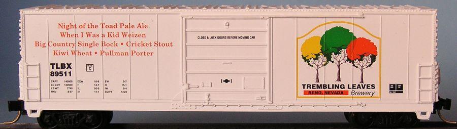N Scale - Aztec - MB2047- 9 - Boxcar, 50 Foot, Evans 5277 - Trembling Leaves Brewery - 89511