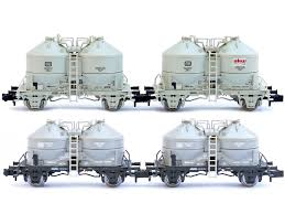 N Scale - Minitrix - 15087 - Tank Car, Cement Silo, 2-Axle - Deutsche Bahn - 4-Pack