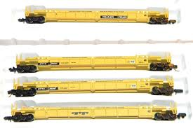 N Scale - Walthers - 932-8054 - Container Car, Single Well, Thrall Lo-Pac 48 - Trailer Train - 25000 (4-car)