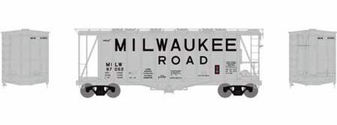 N Scale - Athearn - 23185 - Covered Hopper, 2-Bay, GATX Airslide 2600 - Milwaukee Road - 97125
